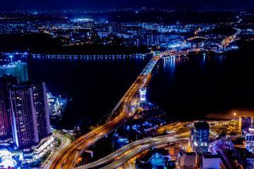 The road link of Johor- Singapore causeway