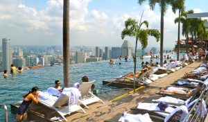 500ft rooftop pool of Marina Bay Sands